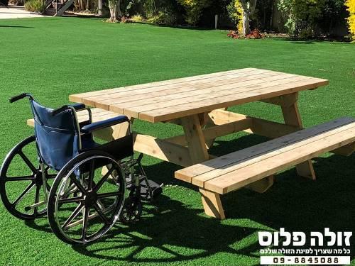שולחן עץ מונגש לנכים